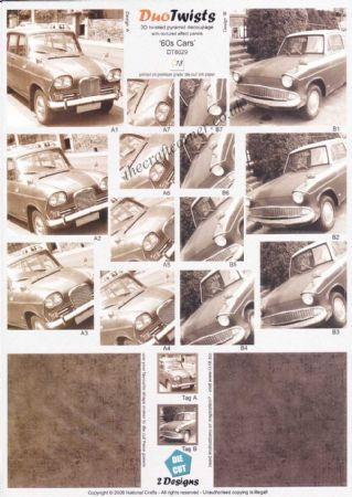 1960's Cars in Sepia Duo Twists Pyramid Die Cut 3d Decoupage Sheet